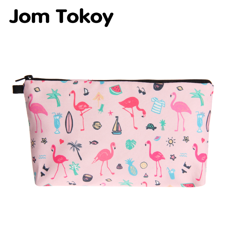Jom Tokoy 2018 New fashion cosmetic organizer bag Pink flamingos 3D Printing Cosmetic Bag Fashion Women Brand makeup bag bodan 219 convenient stylish prismatic pattern cosmetic bag w handle deep pink