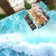 Custom 3D PVC Vinyl Flooring Wallpaper Sea Waves