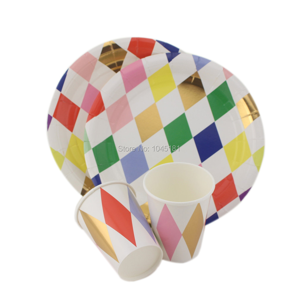 32 set Harlequin Design Paper Plates Paper Cups More Bright Color Gold Disposable Tableware for Event Party Christmas Supplies