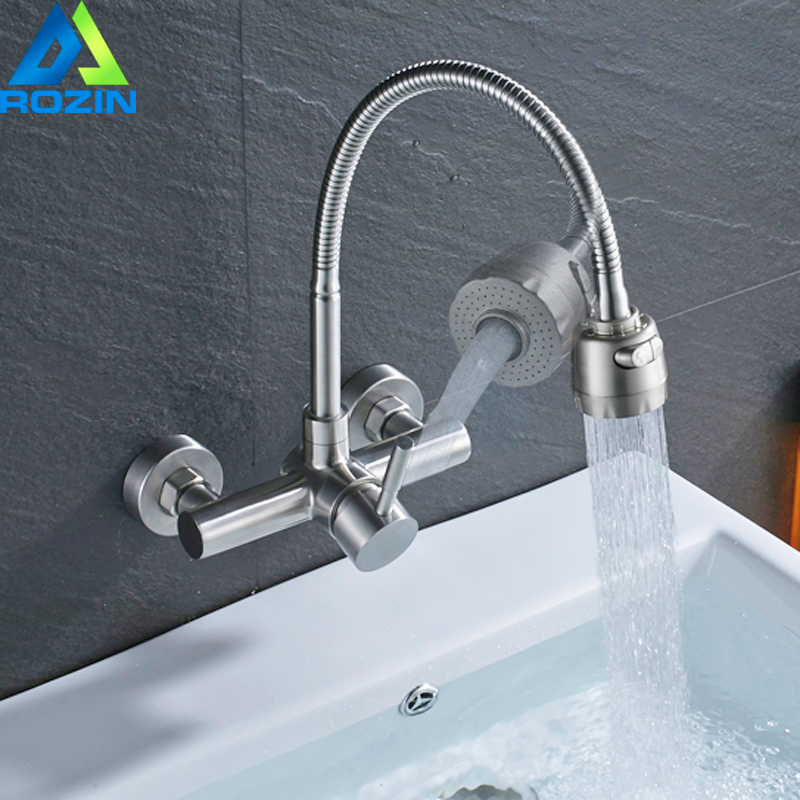 Wall Mounted Kitchen Faucet Single Lever Stream Sprayer