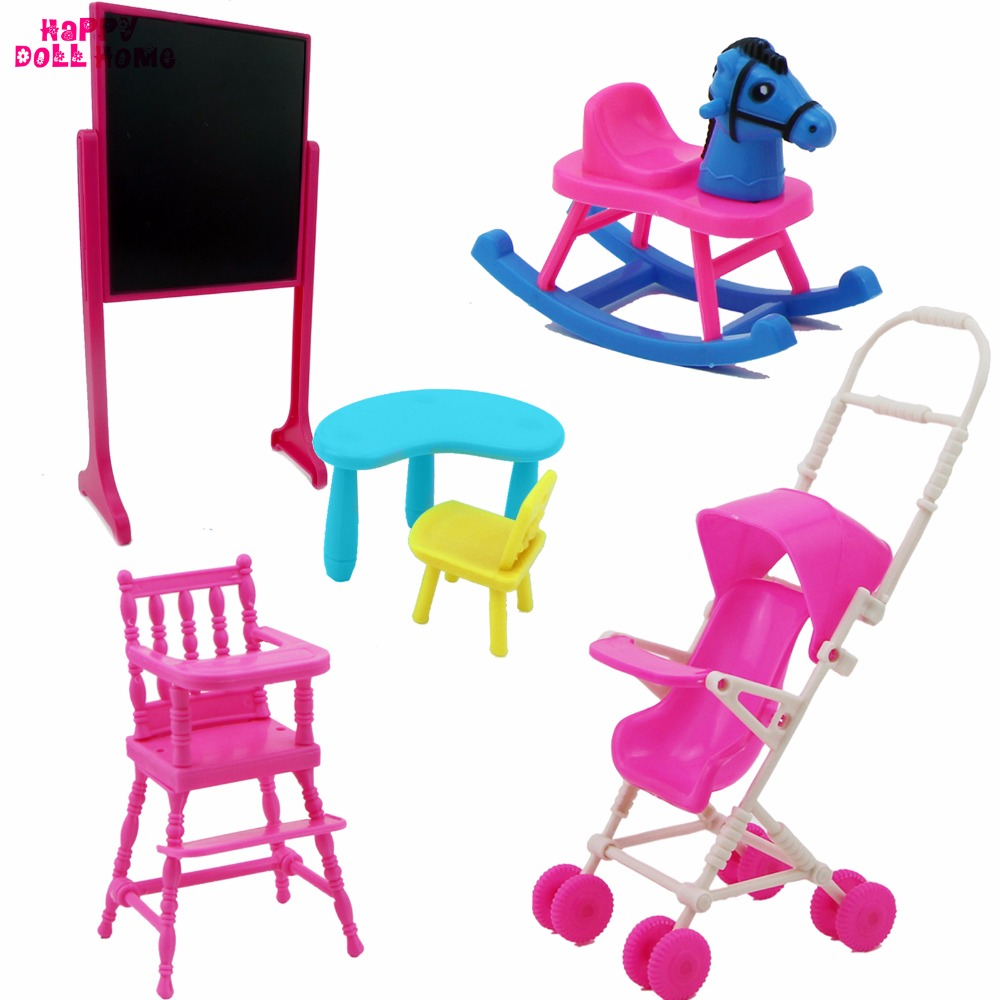 High Quality 5 Pcs Furniture Shaking Horse Trolley High Chair Blackboard Desks Mini Accessories For Barbie Sister Kelly Doll Toy peter nash effective product control controlling for trading desks