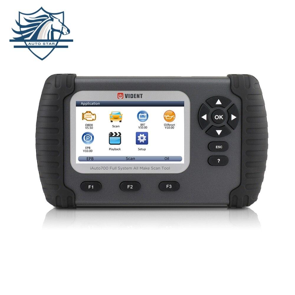 VIDENT iAuto700 Professional Car Ferramenta de Diagnóstico Completo do Sistema de Configuração Da Bateria Luz Do Óleo Do Motor EPS ABS Airbag Reset EPB