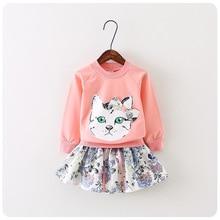 Новый одевая комплект печать кошка свитер + маленький юбка костюм для девочек детей свободного покроя conjunto детская одежда костюм 2 ~ 7age