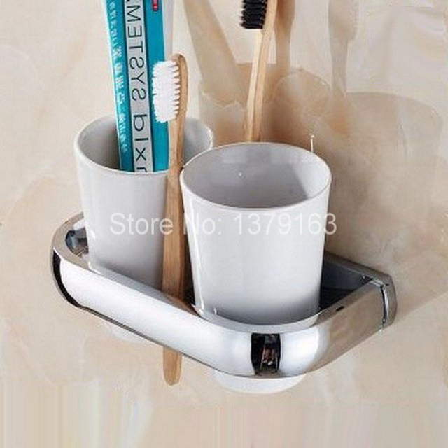 Bathroom Accessories Polished Chrome Br Bath Wall Mounted Toothbrush Holder Set White Double Ceramic Cups