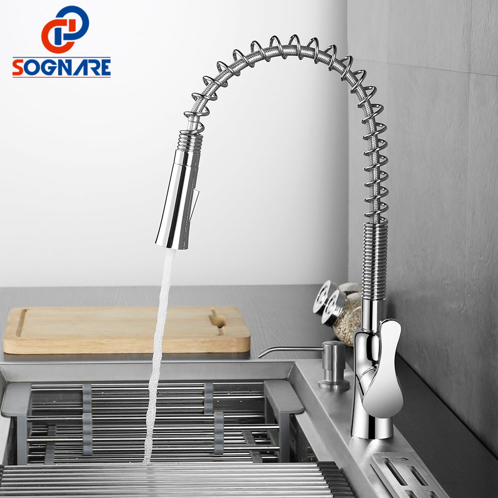 SOGNARE Kitchen Faucet Double Sprayer Rotate Swivel Chrome Vessel Sink Basin Faucet Cold Hot Water Tap