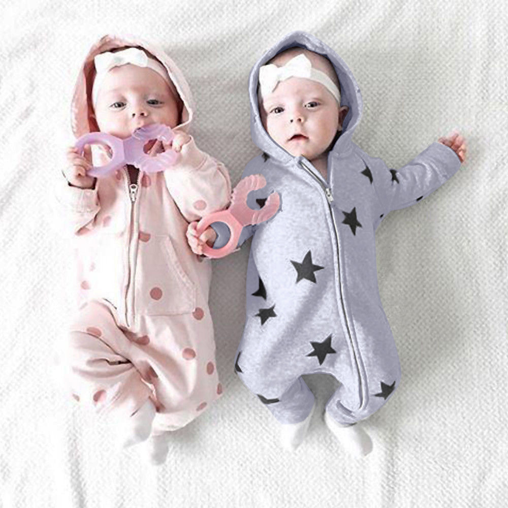 Newborn Baby Infant Toddler Boy Girls Hooded Long Sleeved Leotards And Rompers Clothes Jumpsuit Autumn Star Print Outfits *n
