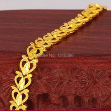 Hollow Hearts Bracelet Chain Women 18K Yellow Gold Plated Fashion Chain Alluvial Gold Bracelet Bangle Jewelry Wholesale