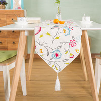 Fresh retro plant flowers Table runner placemats fabric coffee table flag bed runner Free