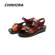 2016 summer shoes flat sandals women aged leather flat with mixed colors fashion sandals comfortable old shoes#HR612