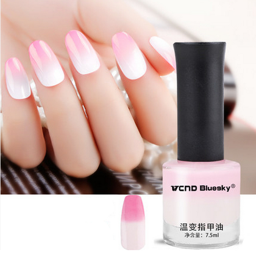 1 Bottle 7 5ml Milk White To Light Pink Thermal Nail Polish Temperature Color Changing Nail