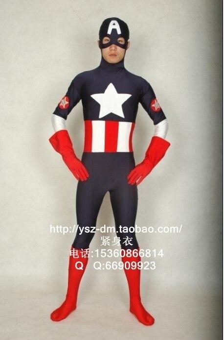 Marvel Comics Captain America Black Spandex Superhero Costume