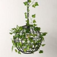 Nordic Fashion Restaurant Iron Round Ball Chandelier Retro Personality Plant Lights Cafe Bar Plant Lights Aisle