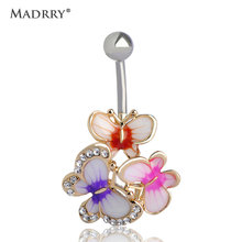 Epoxy Enamel Esmalte Colares Butterflys Belly Button Rings Sexy Body Piercing Jewelry Bars Piercings Navel Piercing