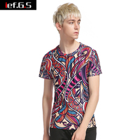 Ief G S High Quality Men S Summer Novelty 3D Color Print T Shirt Size Stretch