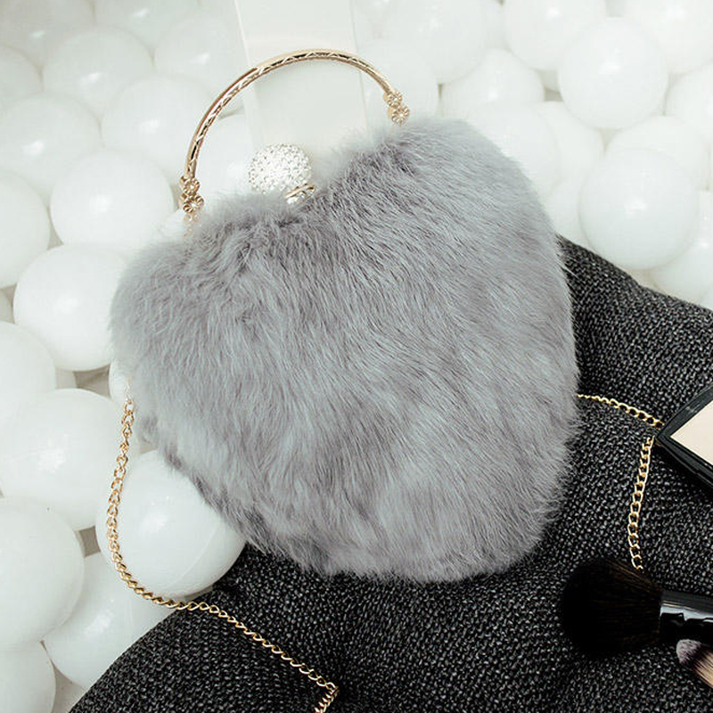 LYKANEFU Rabbit Hair Party Evening Bag Small Clutch Purse Winter Fur Women Bag Ladies Purses Chain Shoulder Bags Drop Shipping