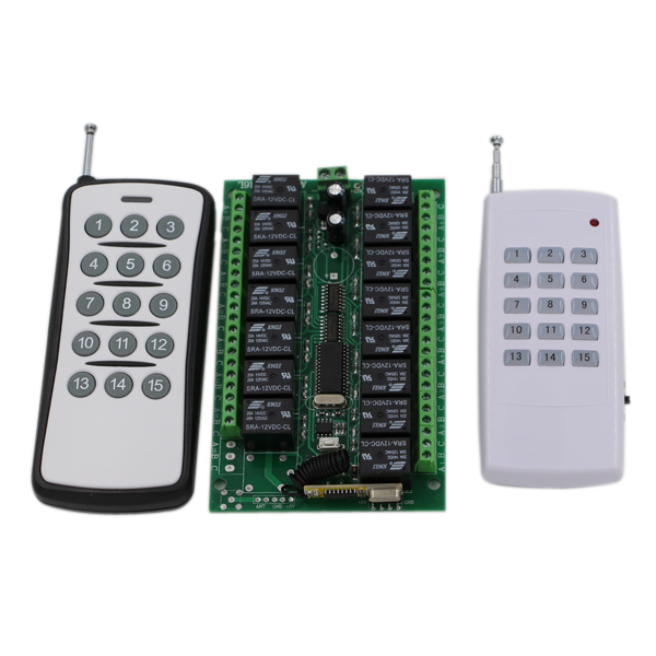 Free Shipping 315Mhz/433Mhz DC24V 15CH RF Wireless Remote Control Switch System 2pcs 15Keys Transmitters and 1pcs 15CH Receiver wireless pager system 433 92mhz wireless restaurant table buzzer with monitor and watch receiver 3 display 42 call button
