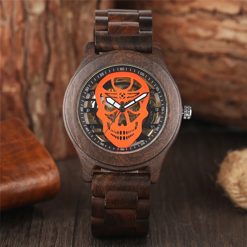 Luxury Automatic Mechanical Watch Handmade Full Wood Case Hot Punk Fashion Hollow Skull Dial Creative Men Wooden Wristwatch saat ultra luxury 2 3 5 modes german motor watch winder white color wooden black pu leater inside automatic watch winder