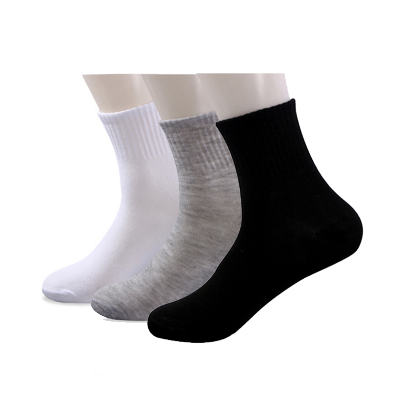 10 Pairs/lot Men White Disposable Socks Sports Casual Black Socks Mens Bath Indoor Floor Tube Sock Cheap Price Wholesale