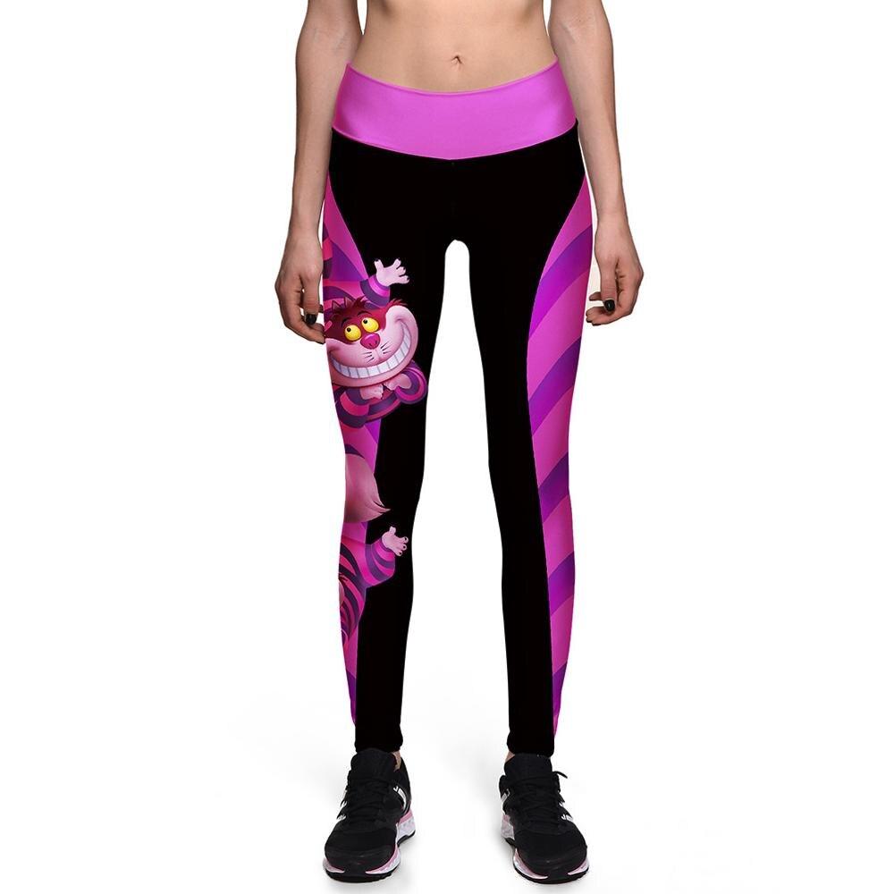 [You're My Secret] Halloween Women   Leggings   High Waist Silm Fitness Leggins Alice In Wonderland Smile Cat Digital Print Pants