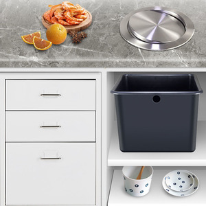 Image 5 - Stainless Steel Flap Flush Recessed Built in Balance Swing Flap Lid Cover Trash Bin Garbage Can Kitchen Counter Top