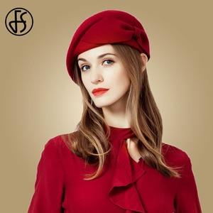 Image 3 - FS レディースレッドウェディング帽子女性のためのヴィンテージ 100% ウールはピルボックス帽子黒の魅惑的な冬 Fedoras 弓ベレー帽教会帽子