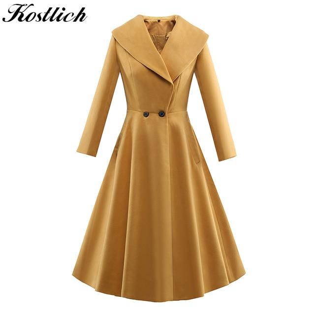 Kostlich New Autumn Winter Trench Coat Women 2017 Long Sleeve Audrey Hepburn Vintage Coat X-Long Skirt Ladies Coats Plus Size