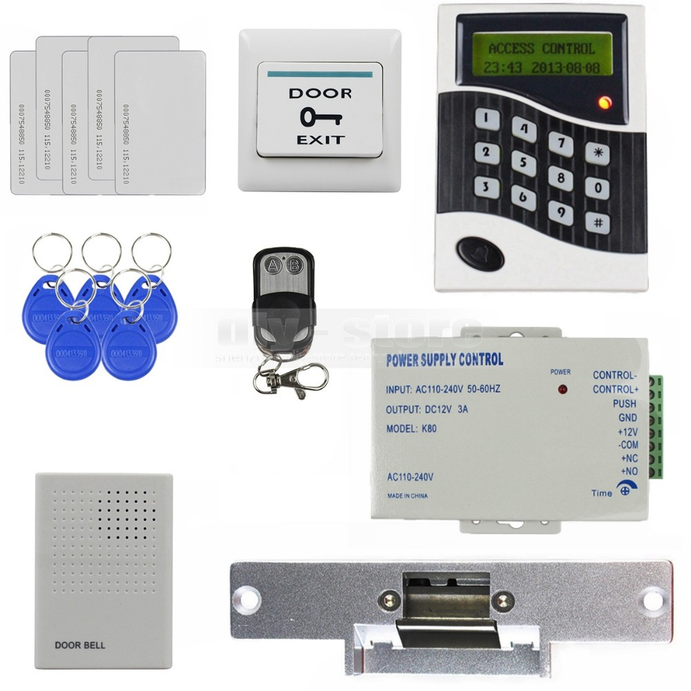 DIYSECUR 125KHz RFID Reader Password Keypad Door Access Control System Kit + Strike Lock + Door Bell B100 10pcs lot tl072cdr tl072c tl072 sop8 low noise jfet input operational amplifiers new original free shipping