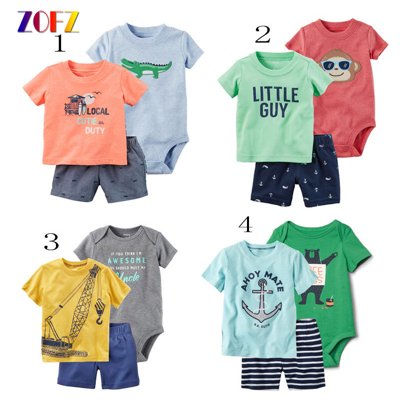 ZOFZ Cute Baby Clothes Sets 3PCS Colourful Fashion Letter T-shirt boy And Girl Pullover Character Cotton Short Baby Set Clothing