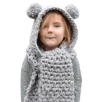 Newest Autumn Winter Warm Wool Knitted Double Ball Hats Baby Girls Shawls Hooded Cowl Beanie New Year Set Cap Scarf Accessories
