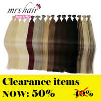 """MRSHAIR 1g/pc 16"""" 20"""" 24"""" Pre Bonded Hair Extensions I Tip Machine Made Remy Straight Human Hair On Capsule Real Hair 50pcs"""