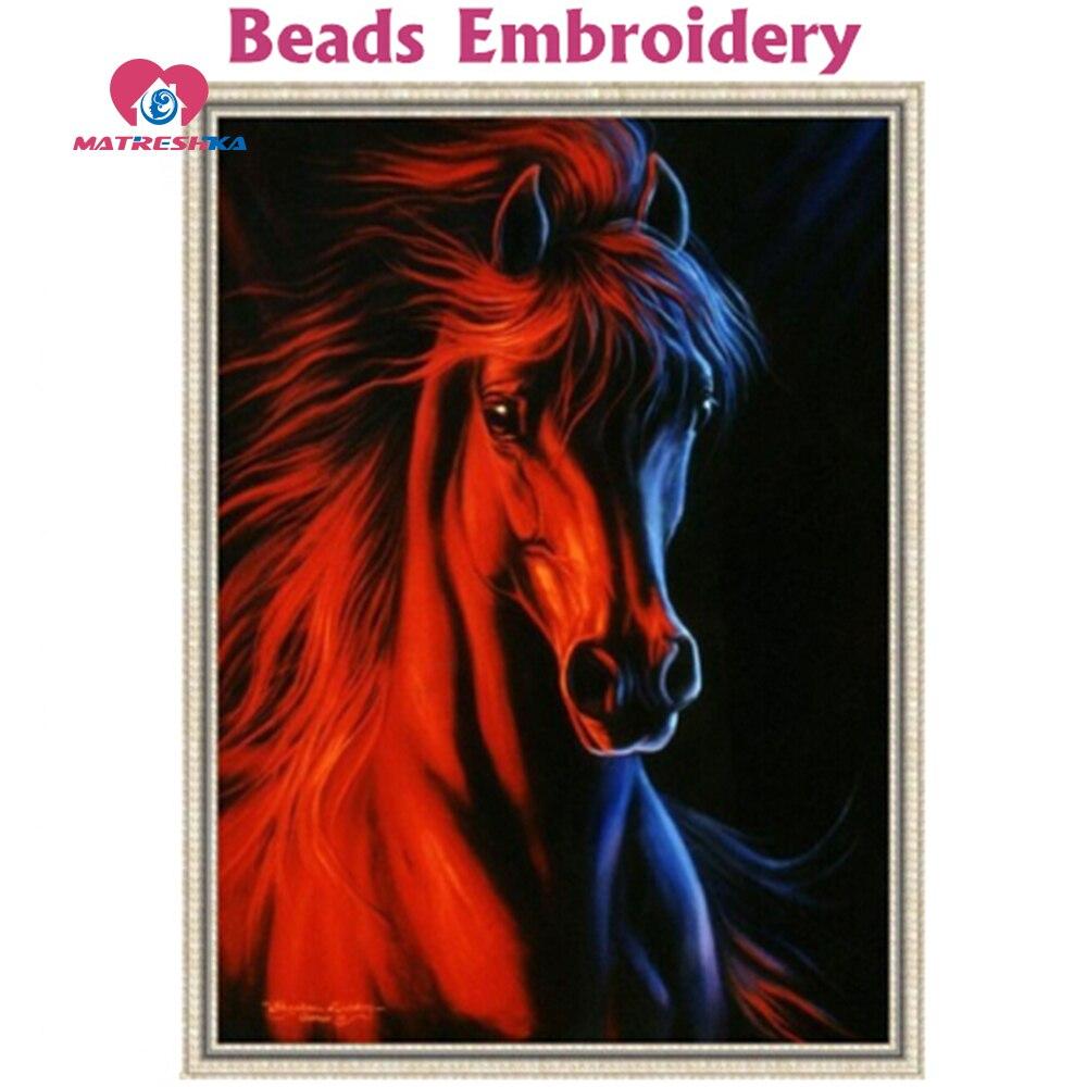 202x278 Rooster kralen borduren paard dier ijs en vuur volledige beadwork patchwork accessoires acessorios de costura breien-in Borduurwerk van Huis & Tuin op  Groep 1