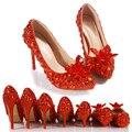 Luxo princesa chinelo dedo apontado salto fino sapatos de cristal vermelho sapatos de casamento das mulheres festa platformance bombas nova chegada