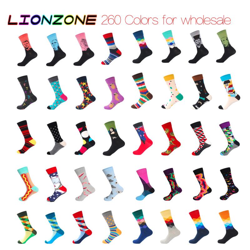LIONZONE Brand Quality Men Women Happy Socks Colorful Cotton Socks 500Pairs Wholesale Please Contact The Customer Service