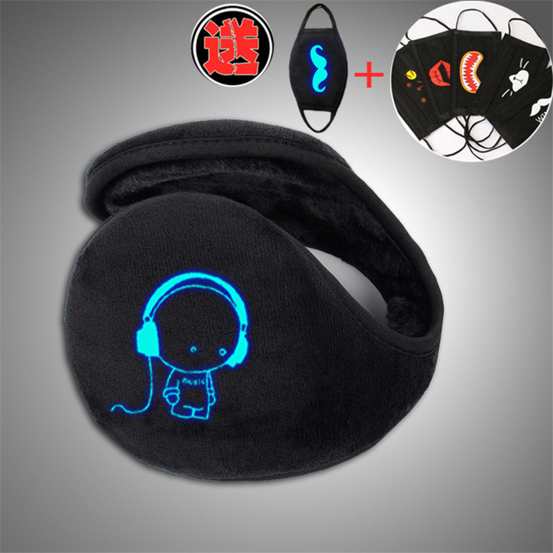 Music Boy Printed Unisex New Men Style Black Earmuff Winter Ear Muff Luminous Wrap Band Warmer Grip Earlap With Free Mask Gift