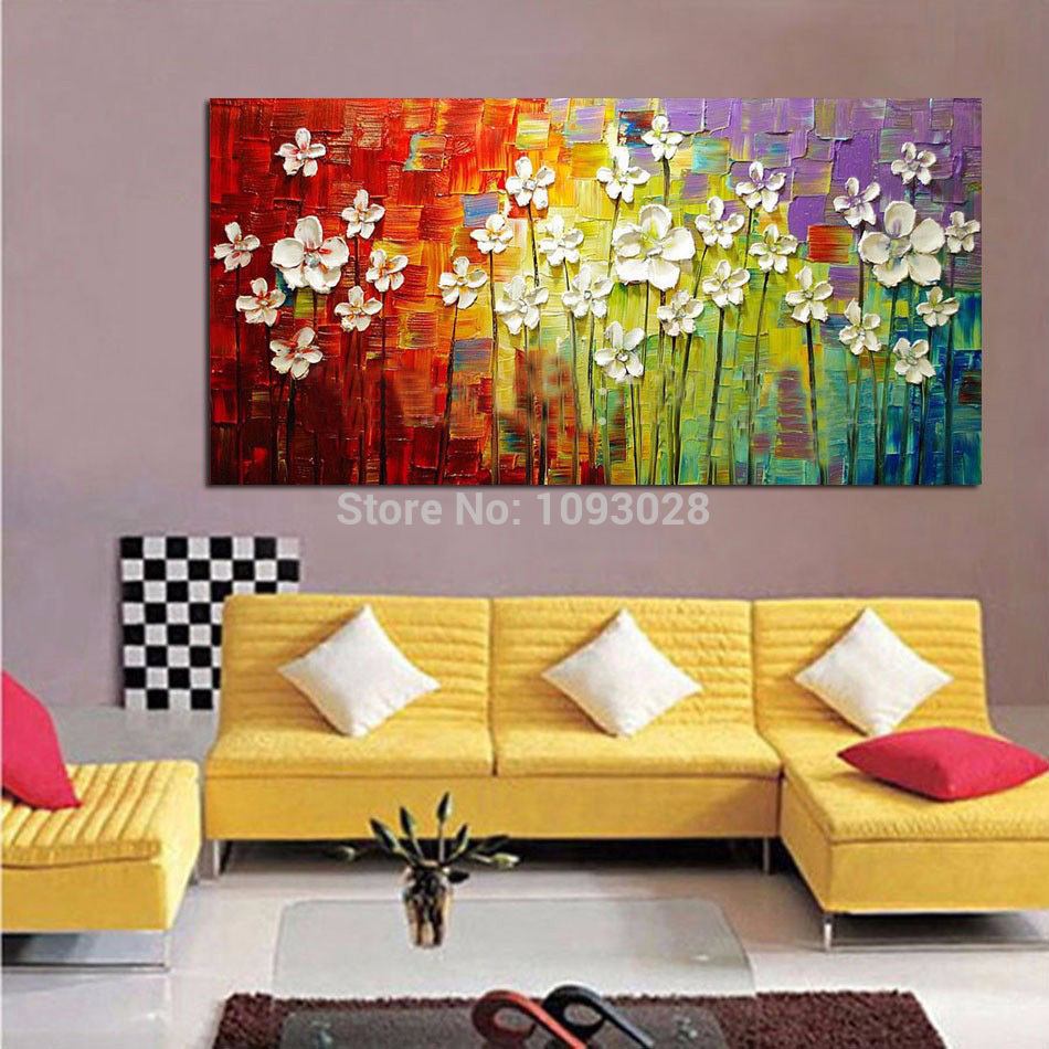 100% Hand painted Free Shipping Large Abstract Three dimensional Oil ...
