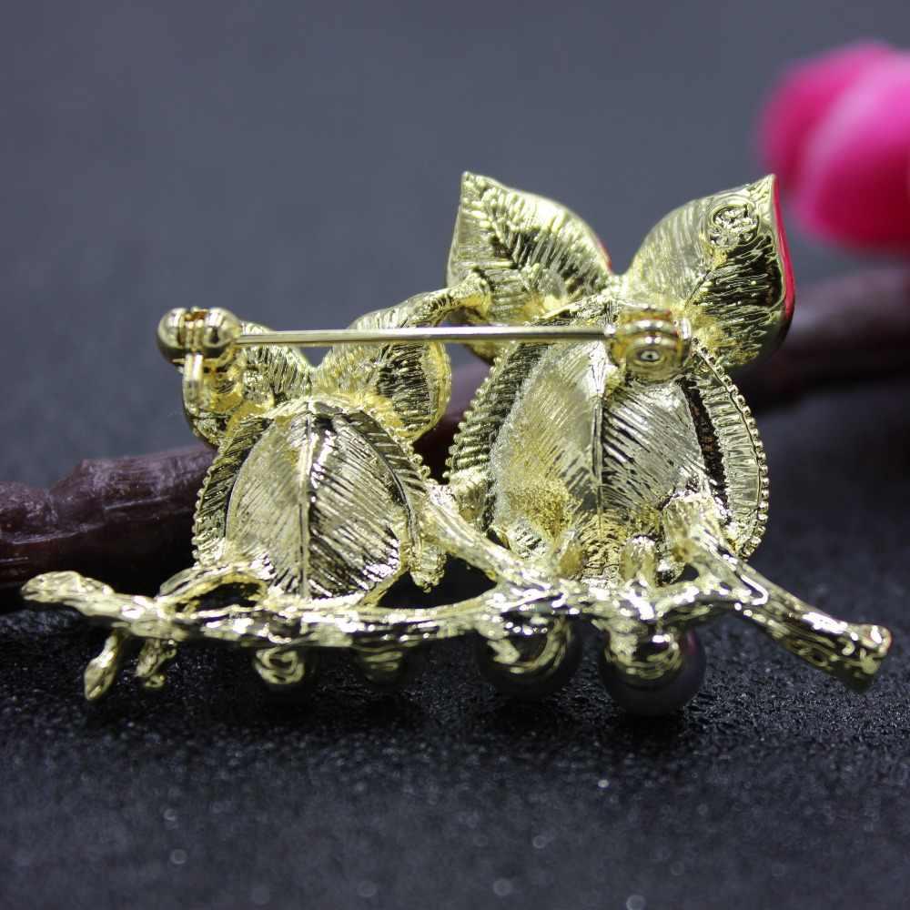 Burung Hantu Bros untuk Wanita Skyrim Aksesoris Lucu Berlian Imitasi dan Mutiara Enamel Hadiah Kerah Pin Pecinta Bros Perhiasan Yang Indah
