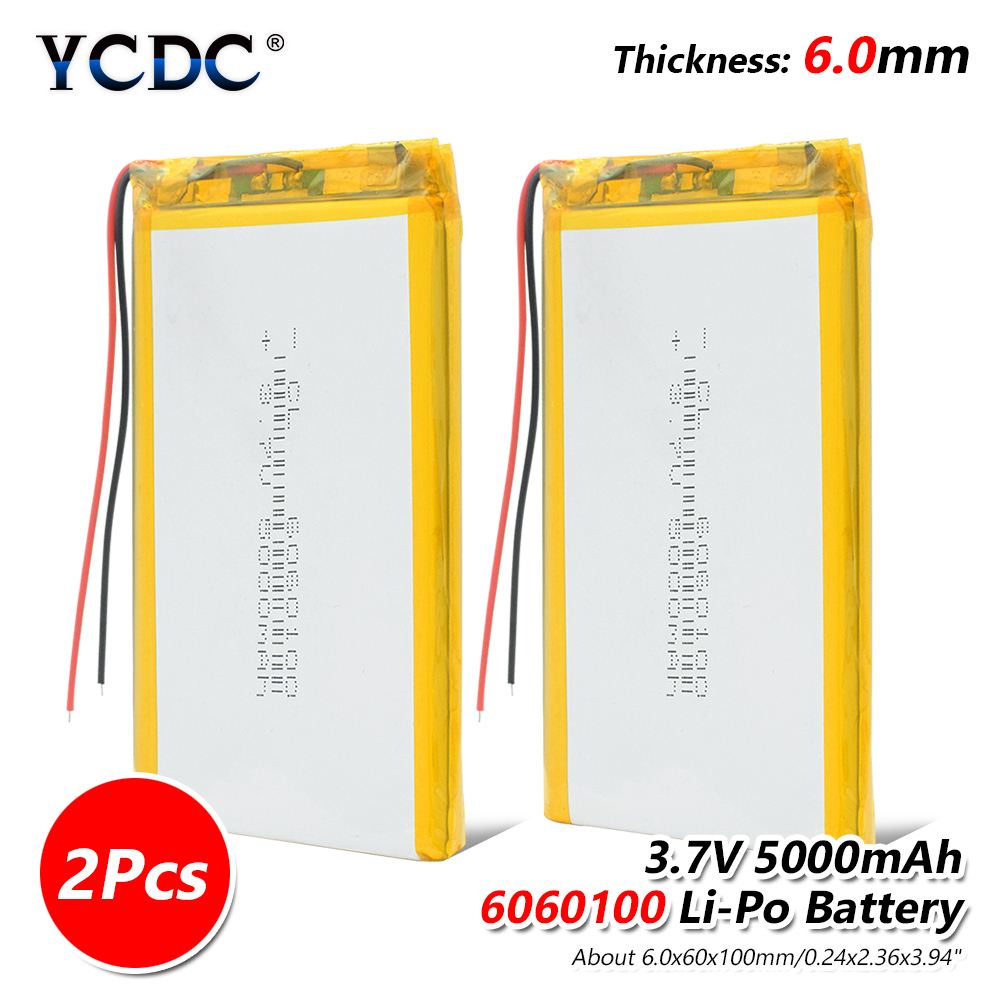 Size 6060100 <font><b>3.7v</b></font> <font><b>5000mAh</b></font> li-ion <font><b>Lipo</b></font> cells Lithium Li-Po Polymer Rechargeable <font><b>Battery</b></font> For Tachograph Speaker Searchlight image