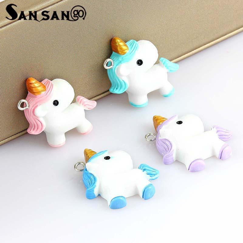 10pcs Colorful Cartoon Cute Unicorn Charms For Women Girls DIY Making Rainbow Kawaii Necklace Pendant Keychain Jewelry Gift