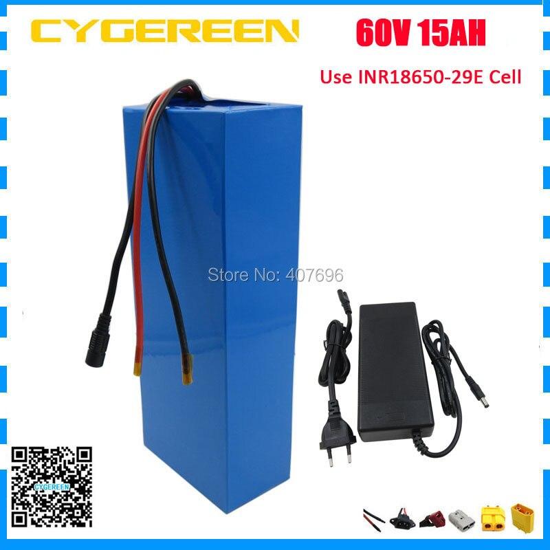 60 V batteria agli ioni di Litio 60 V 15AH 1500 W bici elettrica della batteria 60 V 14.5AH batterie uso 29E 2900 mah cellulare 30A BMS 2A Caricatore