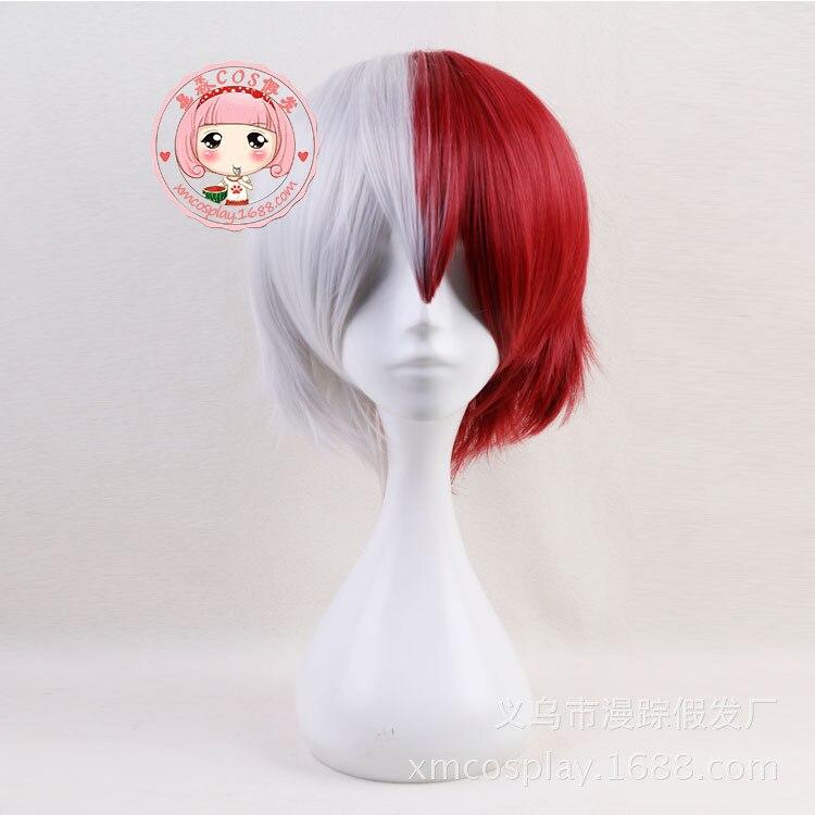 My Hero Academia Todoroki Shoto Boku no Hero Academia Mixed Color Wig Silver Red Cosplay Hair Halloween Role Play