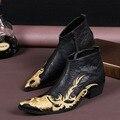 Британский Стиль мужские Классические Pionted Сапоги Случайные Дракон Ботильоны Обувь Большой Размер Природный Воловьей Подлинные Кожаные GZSL 017