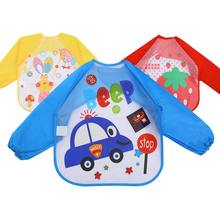 Cute Cartoon Animals Baby Bibs Cloth Waterproof Colorful Children Bib Full Sleeve Bibs Children Apron Long Sleeve Feeding Bibs(China)