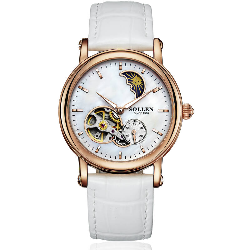 SOLLEN SL401 watches women luxury brand automatic mechanical hollow skeleton moon phase closer heart Italian calfskin цена