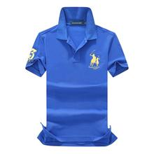 On sale original mesh cotton 2019 Summer Big horse men short sleeve polos mens shirts tops 3 embroidery logo polos shirt
