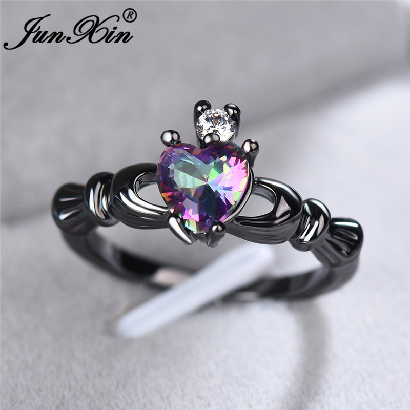 JUNXIN Cute Girls Rainbow Heart Rings For Women Black Gold Filled White Fire Opal Ring Wedding Bands Crown Claddagh Ring Jewelry