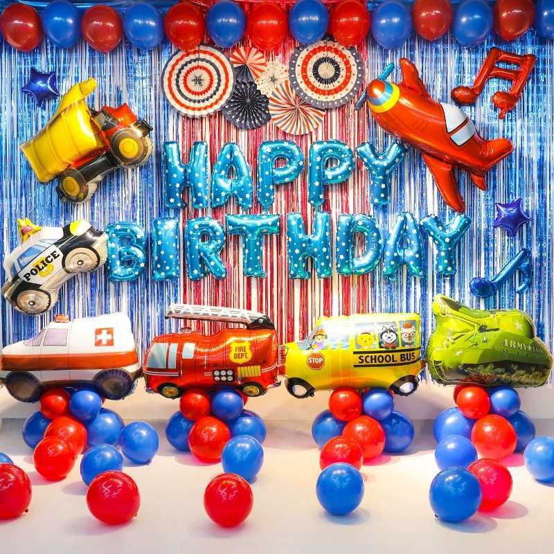 Mainan Besar Mobil Foil Ballon Anak-anak 1st Baby Shower Anak Pesawat Truk Pemadam Kebakaran Pesta Ulang Tahun Dekorasi Mobil Kereta Kolom baloon Mendukung