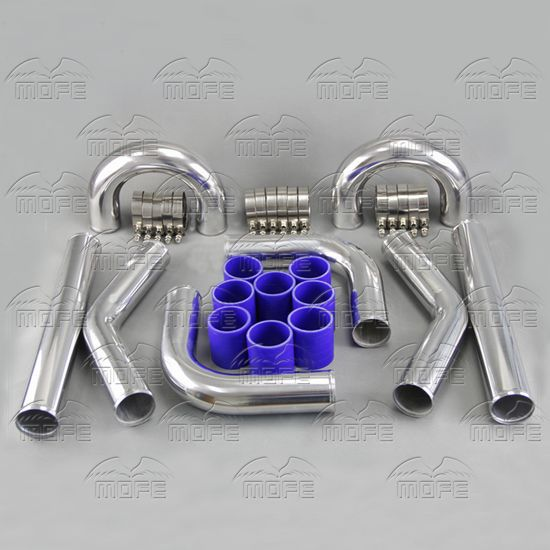 MOFE Universal Height Quality 2.5 64mm Aluminum Chrome Turbo Intercooler Pipe Piping Kit + T Clamp + Silicone Hoses Kit