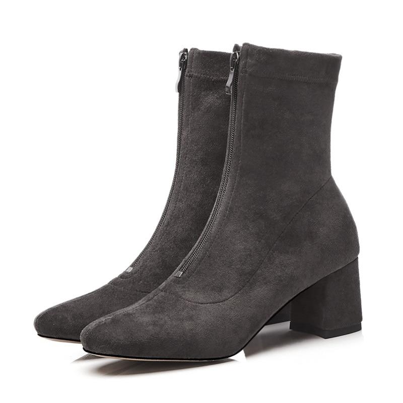 Vestido Mujer Punta Black Gris Cuadrada Facndinll Zapatos Fiesta Tacón Negro light Botines Botas Woamn 2018 dark Cremallera De Alto Gray Nuevos Otoño Invierno Gray Eavwfvq