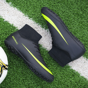Image 3 - Men Football Boots Soccer Cleats Boots Long Spikes TF Spikes Ankle High Top Sneakers Soft Indoor Turf Futsal Soccer Shoes Men