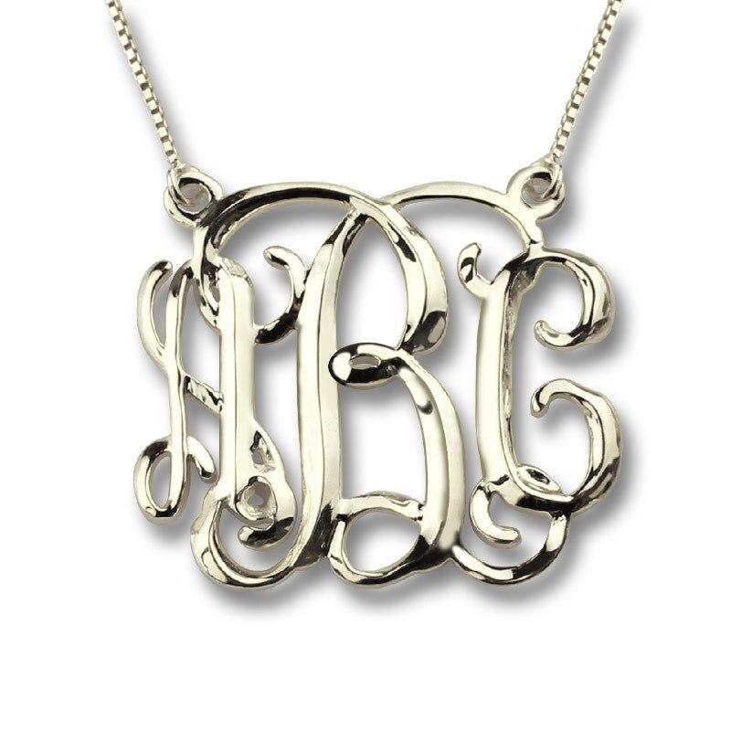 AILIN En Trois Dimensions Monogramme Nom Collier Personnalisé Collier Unique Initiales Collier En 925 Argent Spécial 3D Bijoux